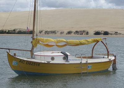Pinasse entre la dune du Pilat et le banc d'Arguin